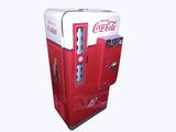 Seldom seen and perfectly restored 1950s Coca-Cola Vendo 56 10-cent coin-operated soda machine.