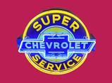 Impressive 1940s-50s Chevrolet Super Service single-sided porcelain dealership sign.