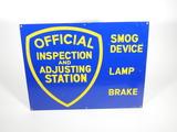 VINTAGE CALIFORNIA OFFICIAL INSPECTION AND ADJUSTING STATION PORCELAIN SIGN