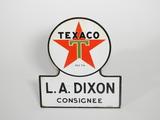 1952 TEXACO OIL LA DIXON CONSIGNEE PORCELAIN SIGN