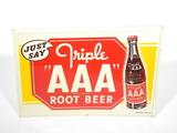 1948 TRIPLE AAAA ROOT BEER EMBOSSED TIN SIGN