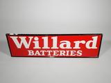 1959 WILLARD BATTERIES HORIZONTAL EMBOSSED TIN SIGN