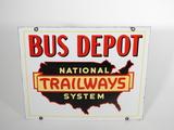 1930S NATIONAL TRAILWAYS SYSTEM PORCELAIN SIGN