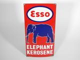 CIRCA 1940S ESSO ELEPHANT KEROSENE PORCELAIN PUMP PLATE SIGN
