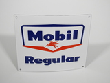 LATE 1950S-EARLY '60S MOBIL REGULAR PORCELAIN PUMP PLATE SIGN