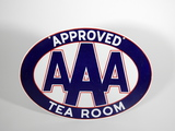 CIRCA 1940S-50S AAA APPROVED TEA ROOM PORCELAIN SIGN