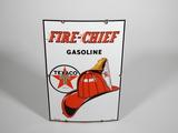 1951 TEXACO FIRE CHIEF GASOLINE PORCELAIN PUMP PLATE SIGN