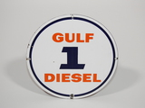 LATE 1950S-EARLY '60S GULF DIESEL 1 PORCELAIN PUMP PLATE SIGN