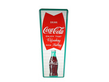 LATE 1950S COCA-COLA VERTICAL SELF-FRAMED TIN SIGN