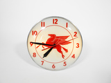 CIRCA LATE 1940S-EARLY '50S MOBIL OIL GLASS-FACED LIGHT-UP CLOCK