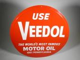 LARGE CIRCA 1950S VEEDOL MOTOR OIL EMBOSSED TIN SIGN