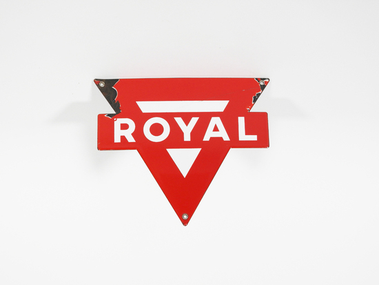 CIRCA 1950S CONOCO OIL ROYAL GASOLINE SINGLE-SIDED PORCELAIN PUMP PLATE SIGN.