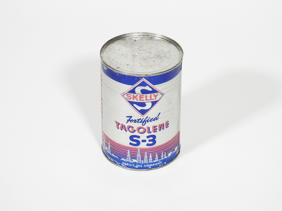 1950S SKELLY FORTIFIED TAGOLENE S-3 MOTOR OIL METAL QUART CAN