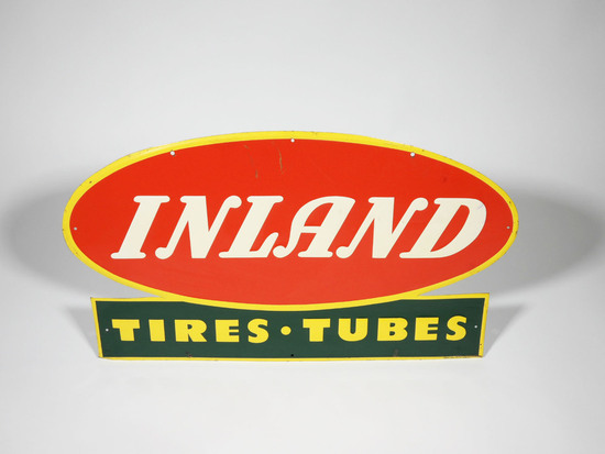 1940S INLAND TIRES AND TUBES EMBOSSED TIN SIGN