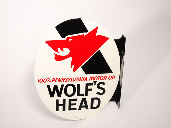 1971 WOLF'S HEAD MOOR OIL TIN FLANGE SIGN