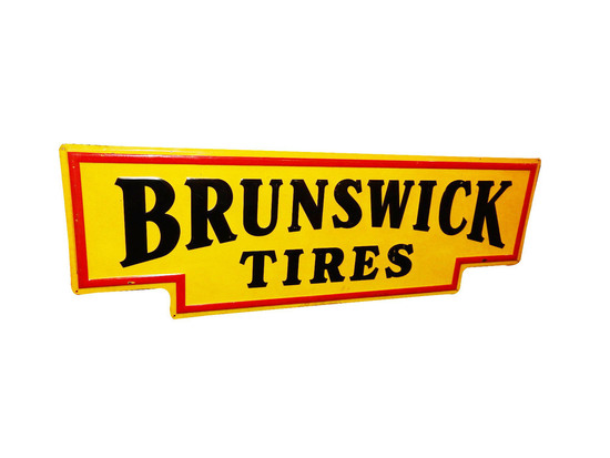 CIRCA 1940S BRUNSWICK TIRES EMBOSSED TIN SIGN
