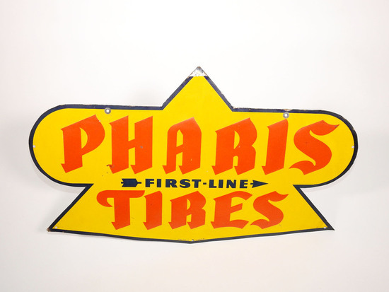CIRCA LATE 1930S-40S PHARIS TIRES EMBOSSED TIN SIGN