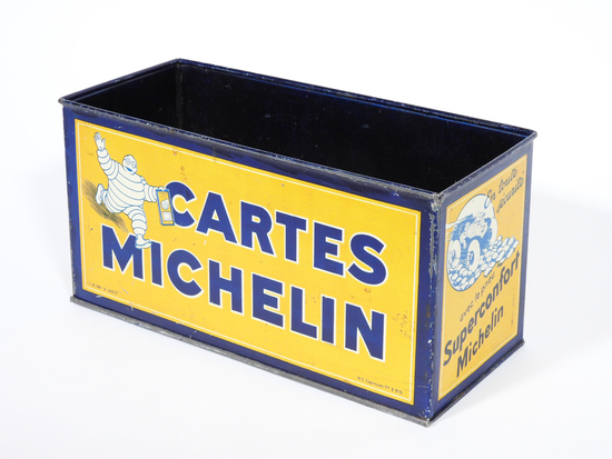 RARE 1930 CARTES MICHELIN FILLING STATION METAL COUNTERTOP ROAD MAP DISPLAY.