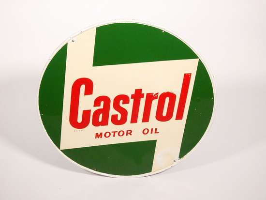 CIRCA 1960S CASTROL MOTOR OIL EMBOSSED TIN SIGN