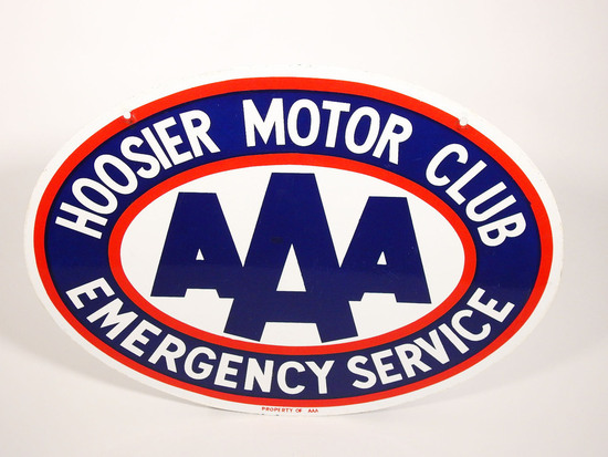 1950S HOOSIER MOTOR CLUB AAA EMERGENCY SERVICE PORCELAIN SIGN