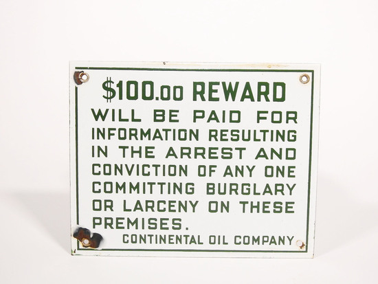 1930S CONOCO OIL $100.00 REWARD PORCELAIN SIGN