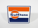 NOS LATE 1950S-EARLY '60S GULF OIL GULFTANE GASOLINE PORCELAIN SIGN