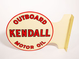 1957 KENDALL OUTBOARD MOTOR OIL TIN FLANGE SIGN