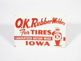 1950S OK RUBBER WELDERS FOR TIRES EMBOSSED TIN SIGN
