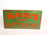 1930S GALE'S QUALITY BATTERIES EMBOSSED TIN SIGN