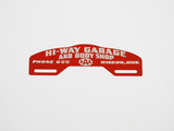 CIRCA 1940S HI-WAY GARAGE AND BODY SHOP AAA LICENSE PLATE SIGN