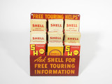 1940S SHELL OIL METAL ROAD MAP DISPLAY WITH ROAD MAPS
