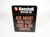 VINTAGE KENDALL MOTOR OIL EMBOSSED TIN SIGN