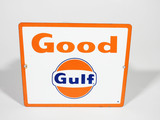 LATE 1950S GOOD GULF GASOLINE PORCELAIN SIGN