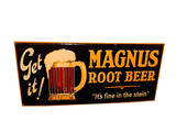 1920S MAGNUS ROOT BEER EMBOSSED TIN SIGN