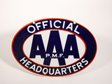 CIRCA LATE 1950S-EARLY '60S AAA PMF OFFICIAL HEADQUARTERS PORCELAIN SIGN