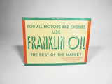 1930S FRANKLIN OIL PAINTED TIN SIGN