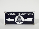 1940S BELL SYSTEM PUBLIC TELEPHONE PORCELAIN DIRECTIONAL SIGN