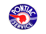 Fabulous circa 1940s Pontiac Automobiles Service double-sided porcelain dealership sign with Pontiac