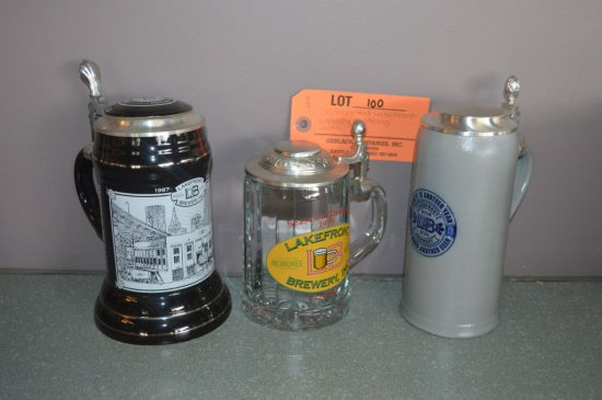 (3) ASSORTED BREWERY STEINS W/LIDS