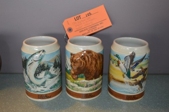 (3) BUDWEISER FIELD & STREAM BEER STEINS