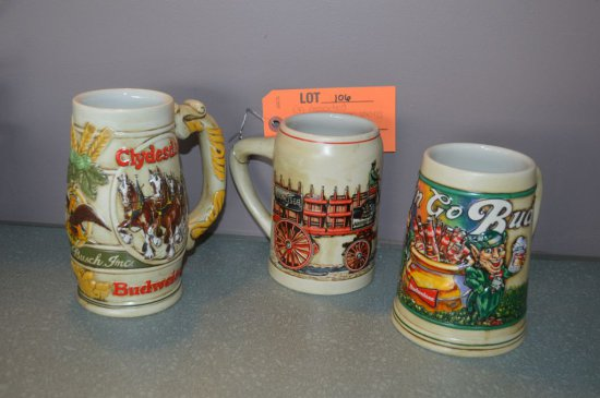 (3) ASSORTED BUDWEISER BEER STEINS
