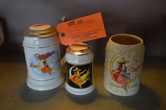 "(3) ASSORTED MILLER BEER ""GIRL ON THE MOON"" STEINS, TWO HAVE LIDS"