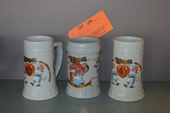 (3) USINGER'S BEER STEINS