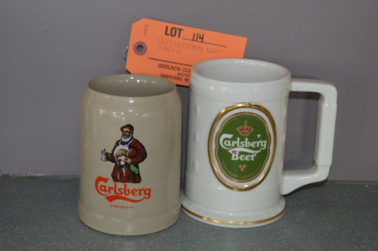 (2) CARLSBERG BEER STEINS