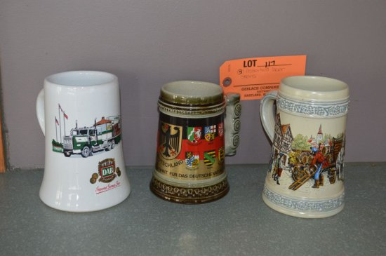 (3) ASSORTED BEER STEINS