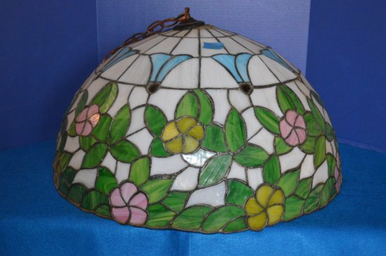 "24 1/2"" TIFFANY STYLE STAINED GLASS CEILING LIGHT,"
