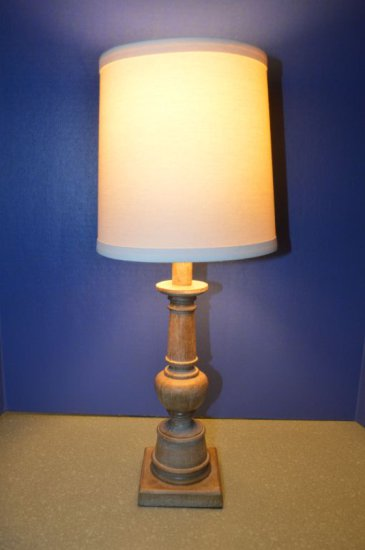 TABLE LAMP, WOOD BASE WITH CREAM BASE,