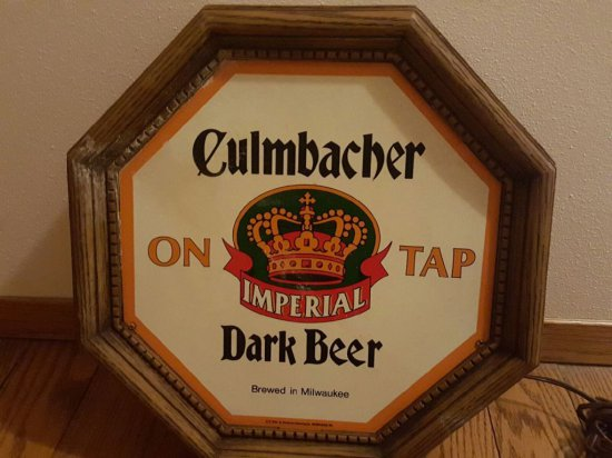 "15"" OCTAGONAL LIGHTED BEER SIGN, CULMBACHER ON TAP"