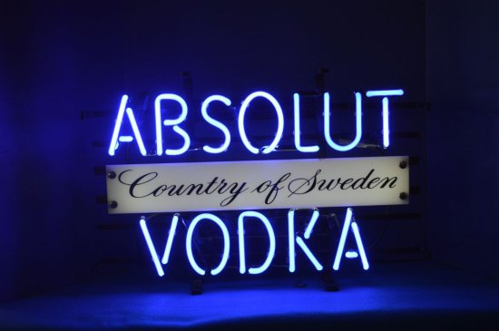 COUNTRY OF SWEDEN ABSOLUT VODKA BLUE NEON
