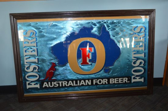 "FOSTERS ""AUSTRALIAN FOR BEER"" MIRRORED SIGN"